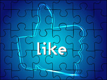 Digital like or thumb up sign on blue Royalty Free Stock Photo
