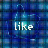 Digital like or thumb up sign on blue Royalty Free Stock Photos
