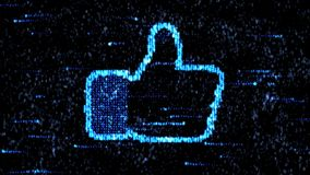 Digital Like. Thumbs up. like symbol stock video