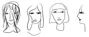 Four line drawing portraits in a row. Digital line drawing sketch of four portraits: three seen from the front and one profile royalty free illustration