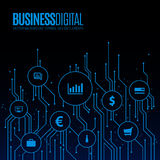 Digital lines with bubbles for business symbols. Stock Photos