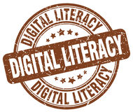 Digital literacy brown stamp Stock Photography