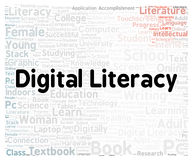 Digital literacy word cloud shape Stock Photo
