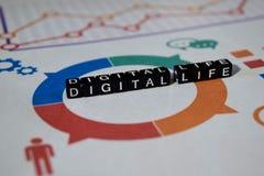 Digital liv på träkvarter grafisk samkopiering för digitalt apparatnätverk royaltyfria foton