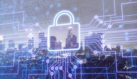 Digital lock icon and city background, concept of. Icon city digital lock internet of things computer background Royalty Free Stock Images