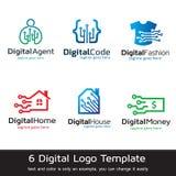 Digital Logo Template Design Vector Arkivfoton