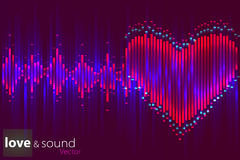Digital love music Equalizer. Vector illustration. Royalty Free Stock Photo