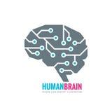 Digital mänsklig hjärna - illustration för vektorlogobegrepp Meningstecken Idérikt symbol för framtida teknologi för elektronisk  royaltyfri illustrationer