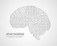 Digital mänsklig hjärna med datorströmkretsbrädet Elektroniskt begrepp för medicinteknologivektor stock illustrationer