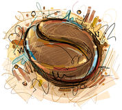 Digital målad kaffeböna Arkivfoto
