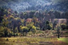 Digital målad vers för för Cades liten viklandskap och bibel arkivfoton