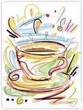Digital målat kaffe Arkivbild