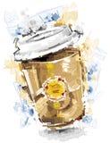 Digital målat kaffe som går Royaltyfri Fotografi