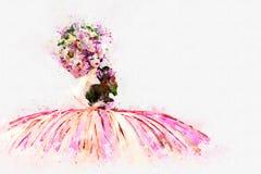 Digital målning av bärande blommor hatt och klänning för modedam, Royaltyfria Bilder
