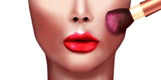 Digital målning av den härliga flickan som applicerar sminkpulverborsten Arkivfoto
