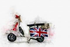 Digital målning av den retro motorcykeln, vattenfärgstil Arkivfoton