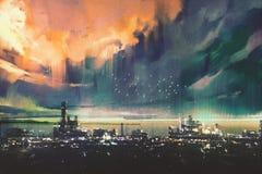 Digital målning för landskap av science fictionstaden stock illustrationer