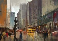 Digital målning för stads- stadsgata, cityscape arkivbilder