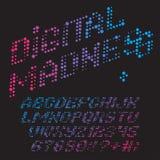 Digital madness font. Color dots alphabet. Vector font Digital Madness Royalty Free Stock Photos