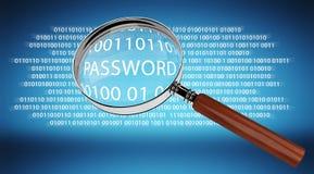 Digital magnifying glass finding password 3D rendering. Digital magnifying glass on blue background finding password 3D rendering Royalty Free Stock Photos