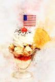 Digital-Malerei der Eiscreme mit Belag, Aquarellart Stockbilder