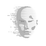 Digital Man. Concept of technology advancement, digital Face Scanning, human face combined with binary code royalty free illustration
