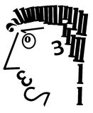 Typographic composition. The mans head is made of digits in black on the white background Stock Image