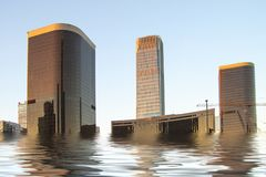 Digital manipulation of flooded newly build modern high rise buildings. Climate change concept - image. Digital manipulation of flooded newly build modern high stock images