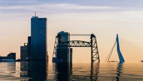 Digital manipulation of flooded skyline of Rotterdam With Erasmus Bridge and Kop van Zuid, Netherlands.  royalty free stock photography