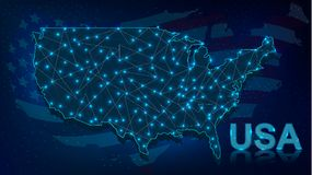 Free Digital Map Of USA With Neon Illuminated Lights Royalty Free Stock Image - 139309226