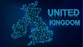 Neon Map of United Kingdom with Copy Space vector illustration