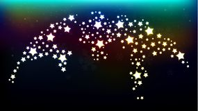 Digital Map of the World with Shiny Stars Texture royalty free illustration