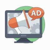Digital marketing and advertising concept. Flat vector illustration. Vector Illustration