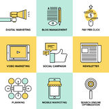 Digital marketing and advertising flat icons Royalty Free Stock Image