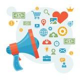 Digital Marketing & Advertising - Loudspeaker Concept Vector Illustration Stock Images