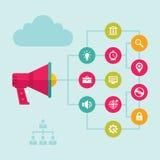 Digital Marketing & Advertising - Loudspeaker Concept Vector Illustration Stock Image