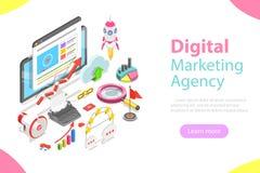 Digital marketing agency flat isometric vector. Digital marketing agency. Flat isometric vector concept of social network, SEM, media communication, SEO vector illustration