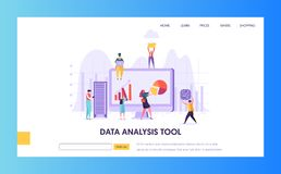 Digital Marketing Analysis Research Landing Page. Seo Strategy Analyzing for Business Growth by Creative Character vector illustration