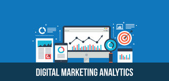 Digital marketing analytics and data report - flat design concept. Concept of digital marketing analytics, marketing data displaying on computer screen. Web