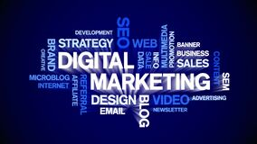 Digital Marketing Animated Tag Word Cloud,Text Design Animation seamless loop.