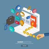 Digital Marketing. Banner advertising for marketing.Flat design concept for make momey with banner on website.3d oblic vector Stock Image