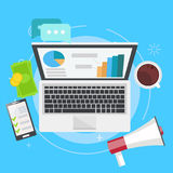 Digital marketing banner. Computer with graphs, money, megaphone and coffee Stock Photography