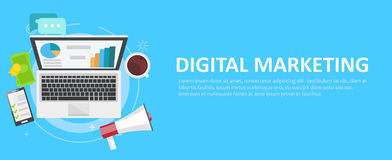 Digital marketing banner. Computer with graphs, money, megaphone and coffee. Stock Photo