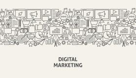 Digital Marketing Banner Concept. Vector Illustration of Line Web Design Stock Photo