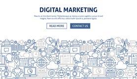Digital Marketing Banner Design. Vector Illustration of Line Web Concept Stock Photo