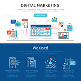 Digital Marketing Banner Set. Two horizontal digital marketing banner set headlines of digital marketing and we used vector illustration Stock Photos