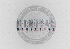 Digital-Marketing Begriffsplan mit HUD-Elementen für Druck und Netz Beschriftung mit futuristischer Benutzerschnittstelle stockfotos