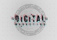 Digital-Marketing Begriffsplan mit HUD-Elementen für Druck und Netz Beschriftung mit futuristischer Benutzerschnittstelle stockbilder