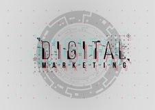 Digital-Marketing Begriffsplan mit HUD-Elementen für Druck und Netz Beschriftung mit futuristischer Benutzerschnittstelle lizenzfreie stockfotos