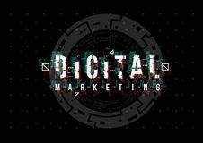 Digital-Marketing Begriffsplan mit HUD-Elementen für Druck und Netz Beschriftung mit futuristischer Benutzerschnittstelle lizenzfreies stockfoto